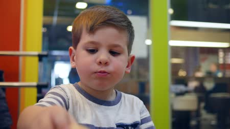 hranolky : Male child eats hamburger and French fries with sauce in fast food cafe, small boy eats with appetite in childrens restaurant, child eating food for dinner, French fries and burger for lunch schoolboy