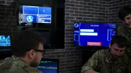 safeness : serious soldiers in uniform, in field headquarters, Cyber war strategy, assault security virus infection, satellite surveillance monitor screen, on background monitor and employees, War center