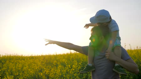 floweret : Relationships of child with daddy, dad with little boy go by field and point hand into distance, field walk of dad and son in sunny weather, kid on fathers shoulders in blossom Against sky, Stock Footage
