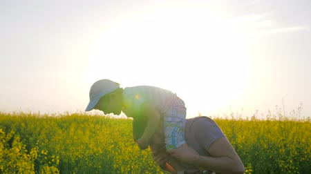 floweret : dad with boy on neck playing into meadow flowers, Happy childhood, daddy and child fooled into blossom in sunlight, father played with son on shoulders at field, florets and blue sky, Stock Footage