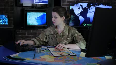 security agencies : soldier woman portrait, cyber safety, technical control, tracking system, IT war, strategy warfare, field headquarters, military staff, attack and security, on soldiery headquarter or war base,