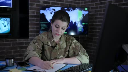 searches : soldier woman portrait with computer, IT war, cyber safety, technical control, tracking system, strategy warfare, field headquarters, military staff, attack and security, control center