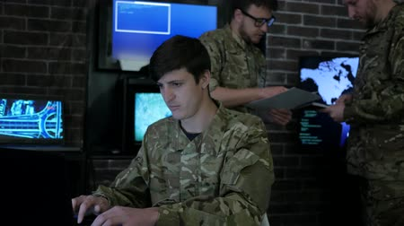 security agencies : portrait soldier, IT war, field headquarters, on background computer equipment, military staff, attack and security, cyber safety, on military headquarter or war base, control center