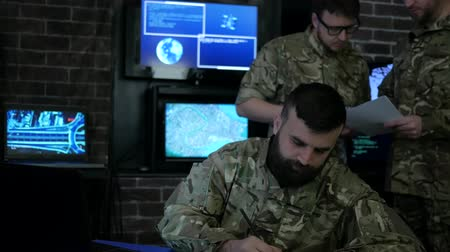 security agencies : portrait man soldier, tracking system, IT war, strategy warfare, field headquarters, military staff, attack and security, cyber safety, on soldiery headquarter or war base, control center