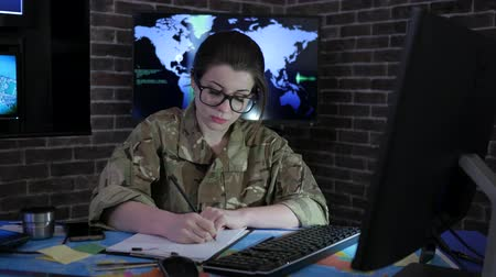 anti terrorism : female soldier portrait with computer, IT war, cyber safety, technical control, tracking system, strategy warfare, field headquarters, military staff, attack and security, control center, war base