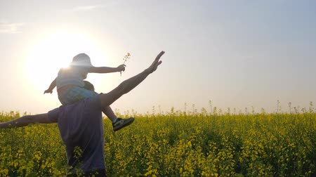 floração : happy family on background field, dad with son playing, daddy and son play in park outdoors in summer day, young father raising kid up in air over head on nature, boy and parent on meadow
