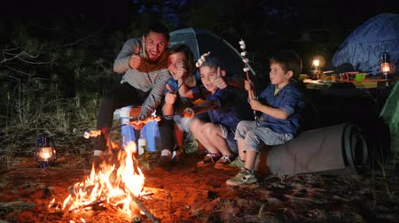 sátor : camp, father giving thumbs up resting with family in forest, positive gesture of husband that rests with wife and children to campground, parents and childs broil marshmallow on campfire to woodland, Stock mozgókép