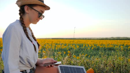 эффективный : female with cellphone and battery, girl using mobile and solar panel communicates in social network on background field, young woman browsing cellular phone uses solar battery