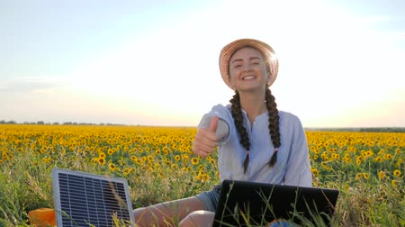 gyűjtő : ecology, young woman shows symbol of approval using solar panels outdoors, female in backlight with notebook charger, girl near solar battery and laptop on field of sunflowers Stock mozgókép