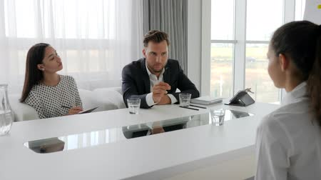 internar : young business team at table in white and spacious office, meeting with secretary and boss in boardroom, girl in modern office on job interview, female during interview on large company