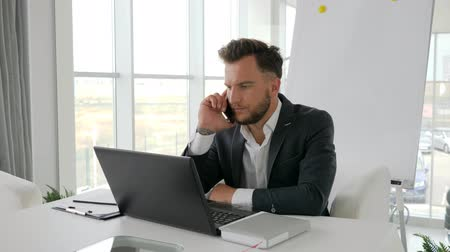 főnök : phone conversation young boss on modern office, Successful businessman Works on laptop at Internet in boardroom, happy executive talk in smartphone at workplace Business center, Stock mozgókép