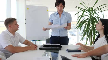 spolupracovníci : women boss With documents in hands holding meeting for discussing ideas business development between of businessman at office table into boardroom