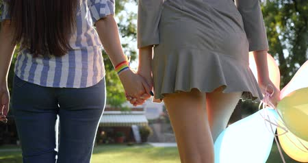 leszbikus : lesbian couple holding hands walking in the park, back view Stock mozgókép