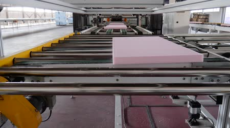 apparatus : polystyrene foam moves on conveyor line at plant, close-up