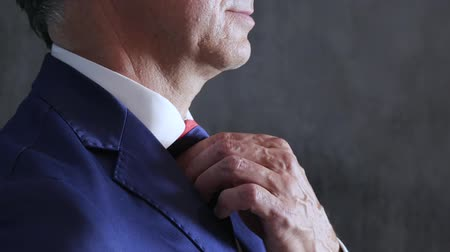 nákrčník : strong mens hands adjust tie on neck close-up against wall, side view Dostupné videozáznamy