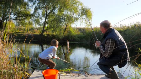 пожилые : happy childhood, fishing of grandson with grandfather on lake in spring on weekends among trees and grass Стоковые видеозаписи