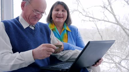 cosiness : husband and wife with plastic card make purchases on Internet indoors Stock Footage