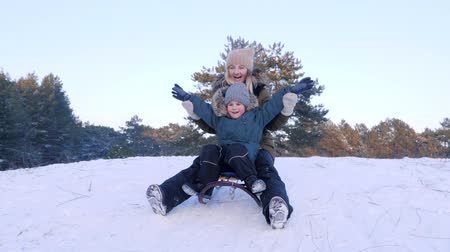 toboggan : sledding on a sunny winter day, young mum with son have fun in fresh air close-up