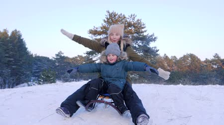toboggan : mother and son having fun sledging on snow with their arms raised in winter forest