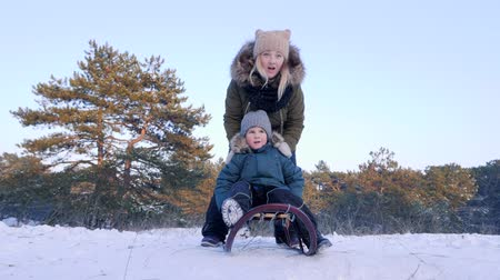 szánkó : family rest in winter forest, mom pushes happy little son on a sleigh in fresh air close-up