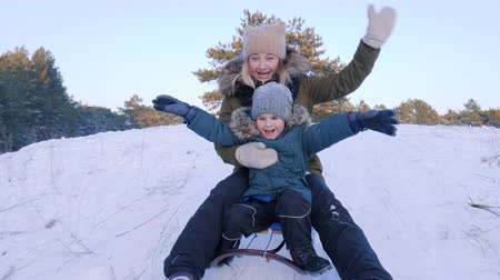 szánkó : winter nature, happy family on sledge rides from the snowy hill in forest in slow motion