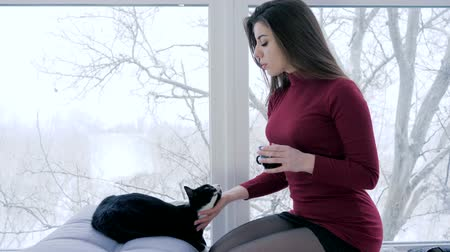 fortunate : life of lonely people, beautiful girl caresses cat and drinks tea at home near window