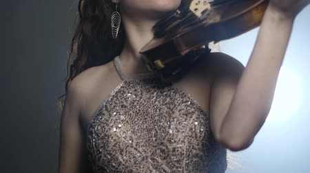 searchlight : musical profession, attractive female into brilliant dress with stringed instrument in arms in bright lighting close-up