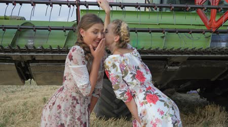 whispering : Rural girl in dress whispering Gossips of Girlfriend in ear and laughs on field near Combine harvester