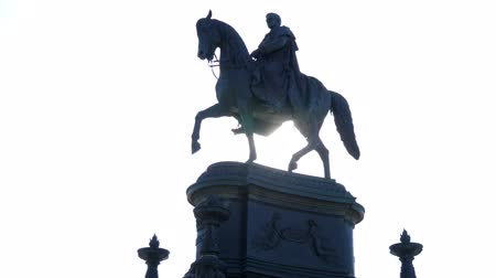 saxon : Dresden, Germany 18 May 2018: monument to King John of Saxony in backlight in Dresden, 18 May 2018.