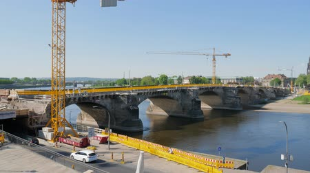zakaz : Dresden, Germany 18 May 2018: renovation works on the bridge of Augustus, Elbe river in Dresden, 18 May 2018.