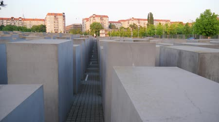 genocide : Berlin, Germany 15 May 2018: historical sites of Europe, Holocaust Memorial in slow motion in Berlin, 15 May 2018.