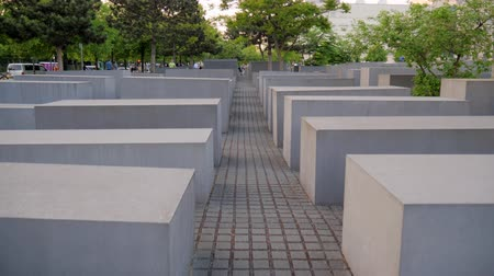 szare tło : Berlin, Germany 15 May 2018: Holocaust Memorial, also known as the Memorial to the Murdered Jews of Europe in Berlin, 15 May 2018.