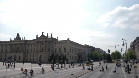 historical germany : Berlin, Germany 15 May 2018: travel, view of old library and Equestrian statue of Frederick the Great on Bebelplatz in Berlin, 15 May 2018.