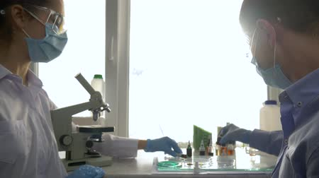 collaborator : young Scientists conduct synthesis of chemical liquids and check under microscope in modern laboratory close-up Stock Footage