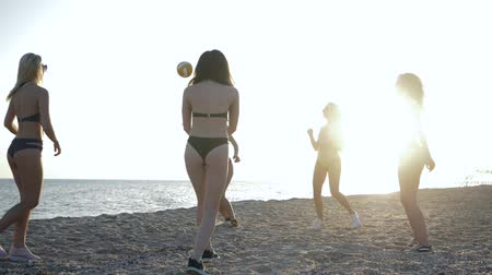 купальный костюм : beach volleyball on seashore, sexy girlfriends in swimsuits play with ball on summer rest in backlight