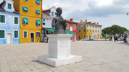 burano : Burano, Italy 19 May 2018: Statue of Baldassare Galuppi in town square on the island in Burano, 19 May 2018.