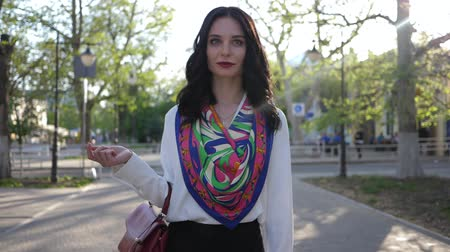 классный : good day, fashion girl with beautiful scarf going outdoors at town in morning sunshine close-up