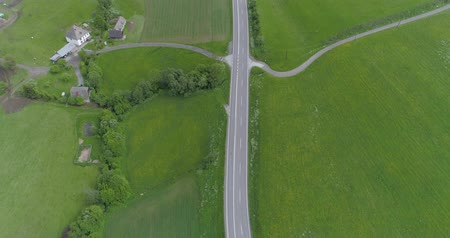 speedway : drone view of motorway through green field in spring