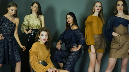 marcante : professional models with perfect makeup posing in fashionable clothes on background wall in studio