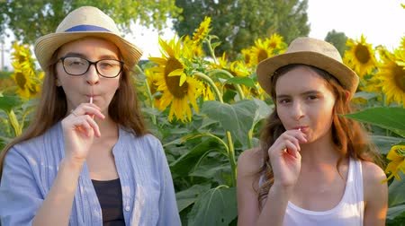 леденец : cheerful teen girls eating sweet lollipops and smiling on the background of yellow field with sunflowers