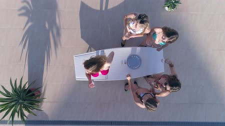 champagne pool : Cocktail party, group Friends girls into bathing suit spend leisure and drink champagne on weekend in summer, aerial view