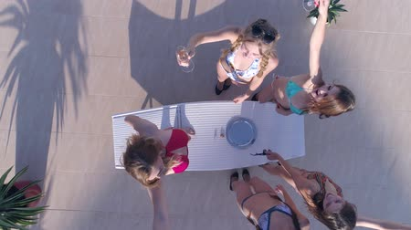 champagne pool : girls party, Crowd Slender women into bathing suit have fun and drink champagne on vacation in summer, aerial view Stock Footage