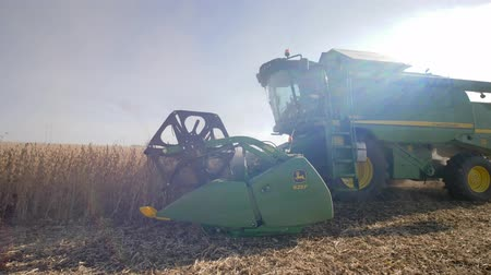соя : KHERSON, UKRAINE - OCTOBER 01, 2018: agricultural field work, combine harvests soya in gather crop season in sunlight