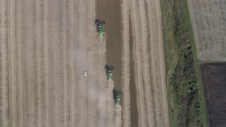soya : agricultural machines collect the ripe soybean on field in the fall, season of gathering crops top view
