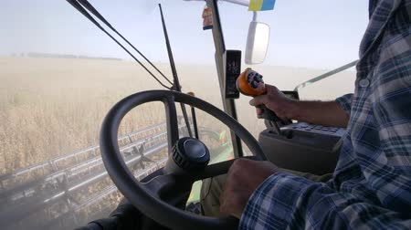 soya : agricultural industry, elderly driver drives a large farm machinery to harvest soybeans on field in autumn season