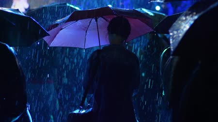прожектор : silhouette lonely woman under an umbrella among people in rain at night concert in flashing lights