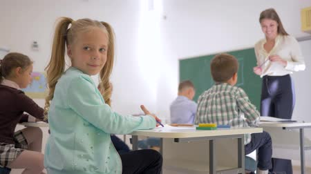 scholar : portrait of schoolkid at desk during teaching lesson in classroom at elementary school close up on unfocused background Stock Footage