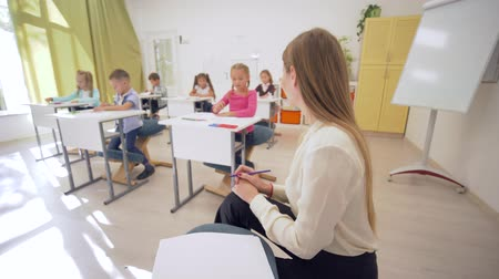 scholar : portrait of smiling teacher female woman during education lesson with pupils in classroom at Primary school on unfocused background close-up Stock Footage