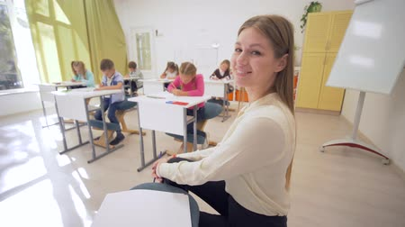 becario : portrait of young educator female during teaching lesson with learners in classroom at Junior school on unfocused background close-up Archivo de Video