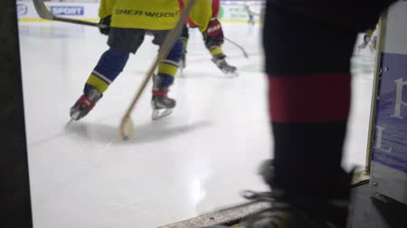 kask : KHERSON, UKRAINE - OCTOBER 28, 2018: school hockey team go to ice, active kids team in skates on the training inside a hockey arena Stok Video